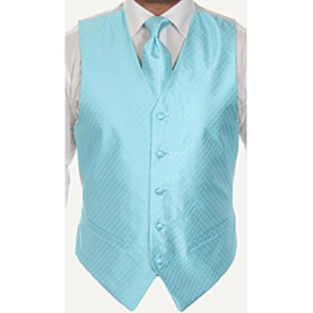 Four-Piece Vest Set Pale turquoise ~ Light Blue Stage Party