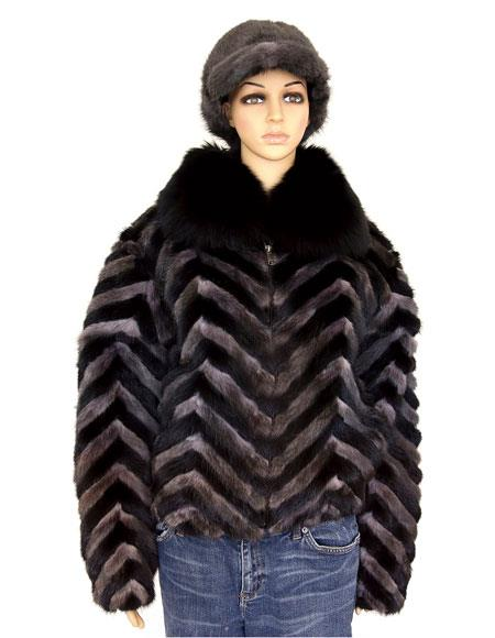 Fur Black/Grey Chevron Mink