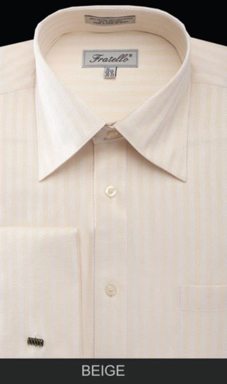 Product# MK667 Fratello French Cuff Beige Dress Shirt - Herringbone Tweed Stripe Big and Tall Sizes