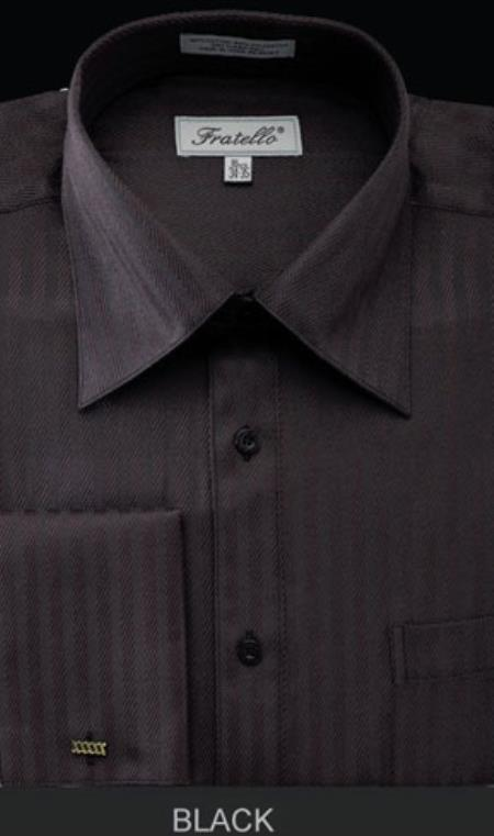 Fratello French Cuff Liquid Jet Black Dress Shirt - Herringbone Tweed Stripe Big and Tall Sizes