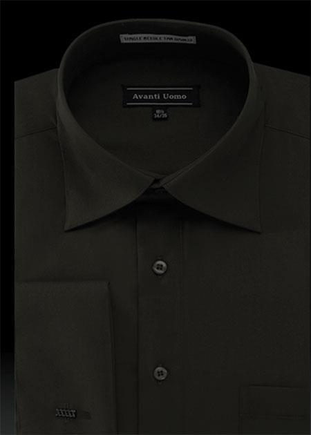 Product# FG3C French Cuff Dress Shirt with Cuff Links - Liquid Jet Black