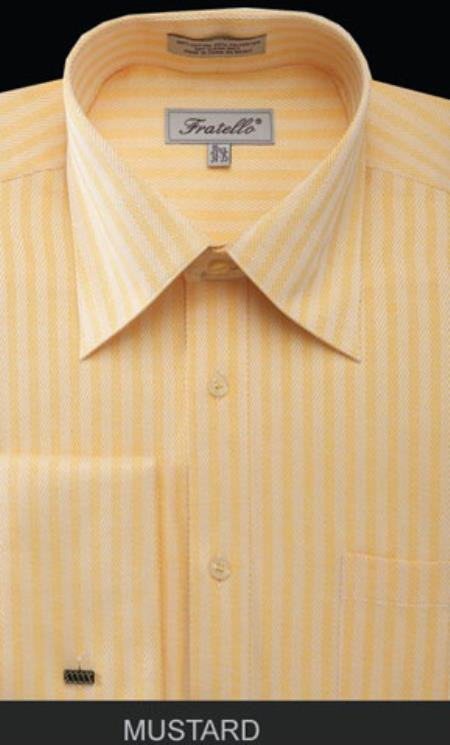 Product# MK676 Fratello French Cuff Mustard Dress Shirt - Herringbone Tweed Stripe Big and Tall Sizes