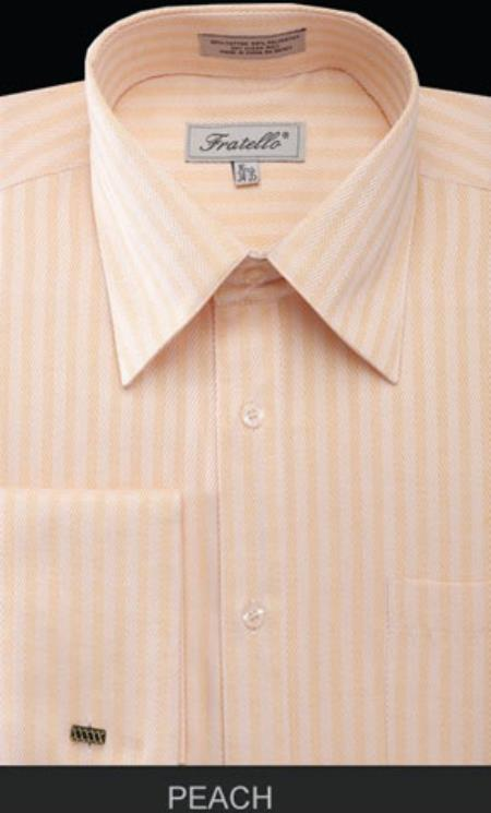 Fratello French Cuff Peach Dress Shirt - Herringbone Tweed Stripe Big and Tall Sizes