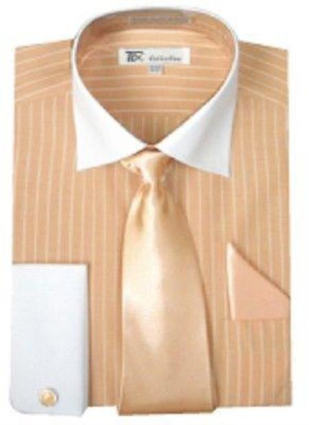 Stylish Classic French Cuff Striped Dress Shirt with Tie and cuff Peach