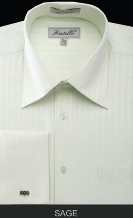 Fratello French Cuff Sage Dress Shirt - Herringbone Tweed Stripe Big and Tall Sizes Light Green Dress Shirt