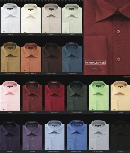 Wrinkle Free French Cuff Dress Shirt Spread Collar