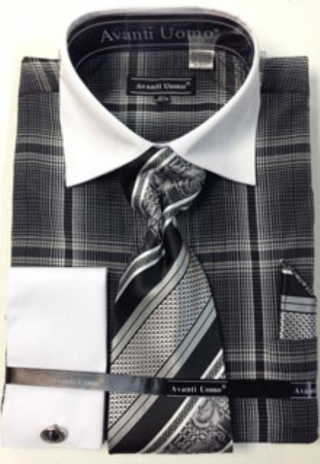 Product# RM1278 Avanti Uomo French Cuff Dress Shirt Set With Tie, Hanky and Cuff Links Black