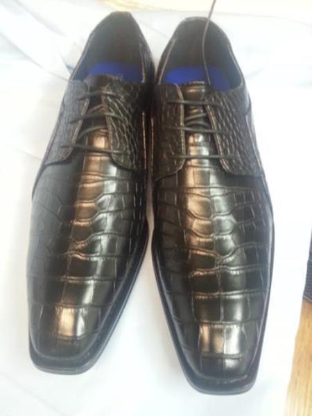 Product#AA420 Dress Exotic Skin Alligator skin Crocodile Print Liquid Jet Black Shoes for Online