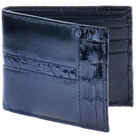 Product# KA6920 Cartera Piel con cai ~ Alligator skin Wallet –Negro