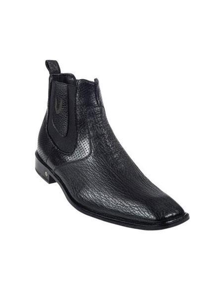 Genuine Liquid Jet Black Shark Dressy Boot