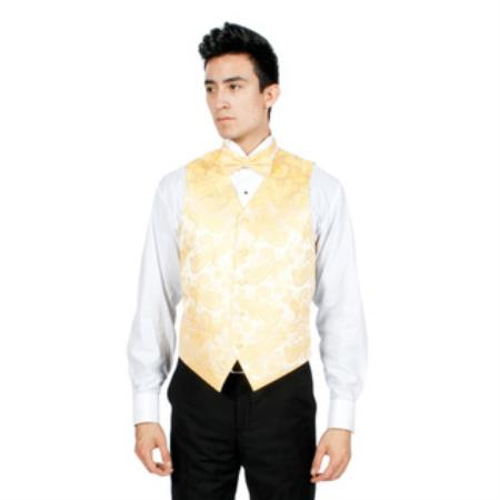 Product# PNB67 Gold Paisley Print 4-Piece Vest Set