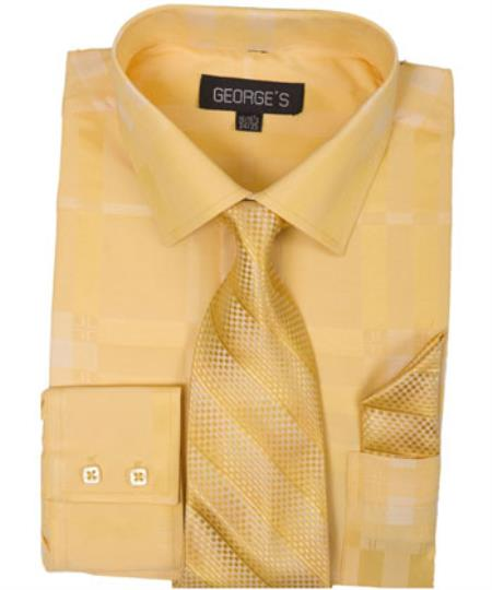 Product# JSM-1462 Men's Gold Dress Shirt 60% Cotton 40% Polyester Shadow Striped Tie with Hanky