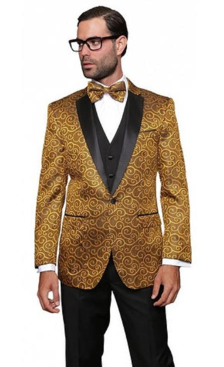 Product# JSM-4853  Mens Floral Sateen Unique Paisley Sport Coat Sequin Unique Shiny Fashion Prom Flashy Silky Satin Stage Fancy Stage Party Two Toned Blazer ~ Suit Jacket / Sport coat / Mens Jacket / Dinner Jacket Gold