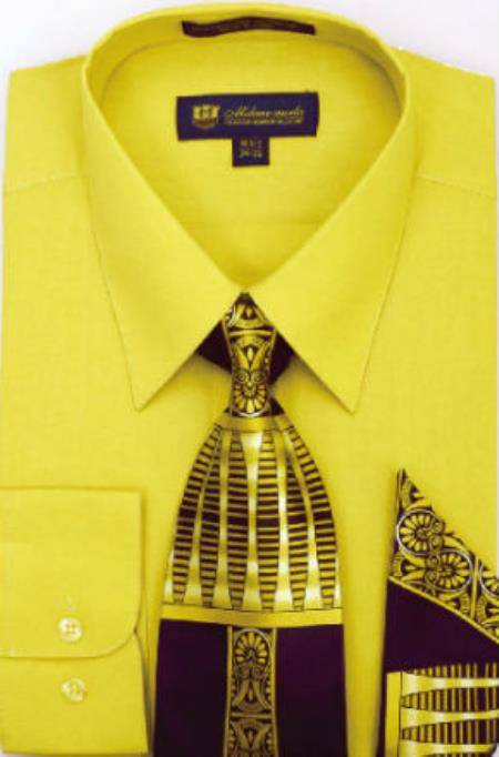 326daa279 Product# SW906 Milano Moda Classic Cotton Dress Shirt with Ties and  Handkerchiefs Gold
