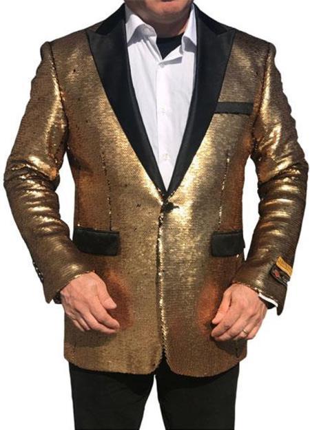 Product# GD722 Alberto Nardoni Best Mens Italian Suits Brands Shiny Flashy Sequin Tuxedo Black Lapel paisley look sport jacket ~ coat Gold