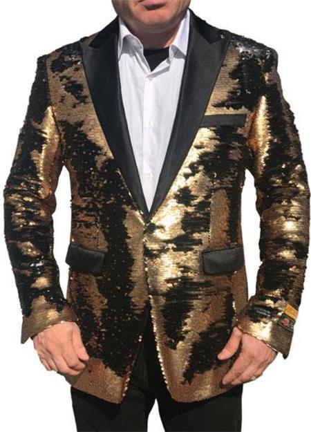 Alberto Nardoni Best men's Italian Suits Brands Shiny Flashy Sequin Tuxedo Black Lapel paisley look sport jacket ~ coat Gold