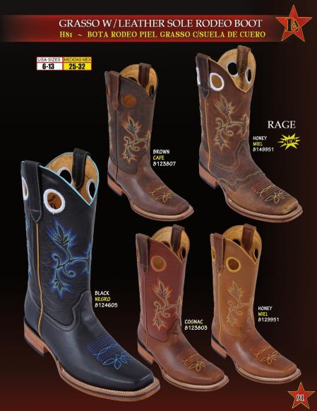 Product# FX2E Authentic Los altos Grasso w/ Leather Sole Rodeo Cowboy Western Boots Diff. Colors