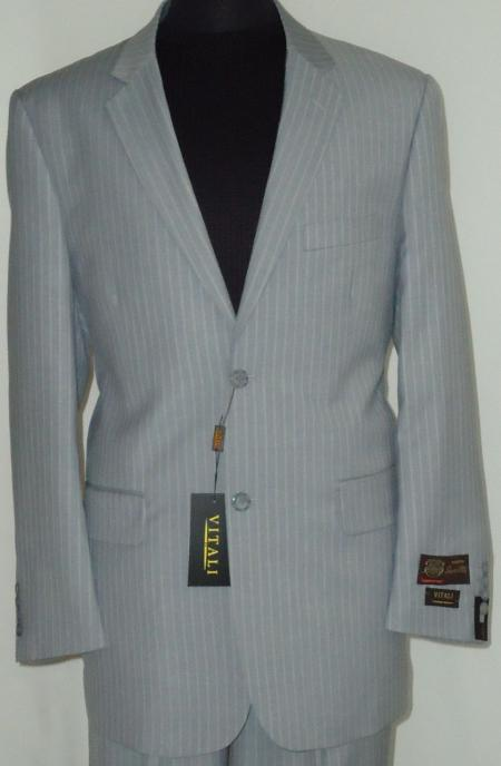 Product# GRY9922 Gray Classic Business Pinstripe Designer 2 Button Style Suit Gray