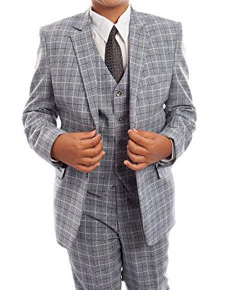 Product# CH1713 Boys 3-Piece Check Tuxedo Gray Boys And Men Suit Set With Matching Shirt & Tie
