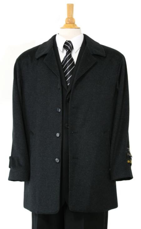 Zilos~Sloan Luxurious high-quality Cashmere&Wool Fabric half-length notch lapel Charcol Gray Carcoat