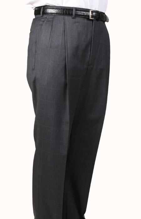Gray Windowpane Parker Pleated
