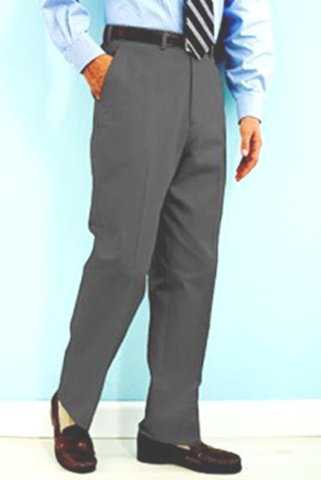 Product# NN441 PA-100 Gray premier quality italian fabric Flat Front Wool Fabric Dress Pants Hand Made Relax Fit
