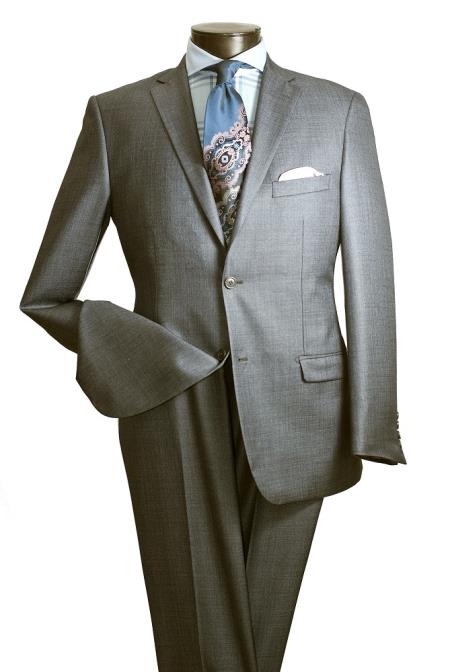 KA5732 2 PC Slim narrow Style Cut Suit Double Vents -Gray