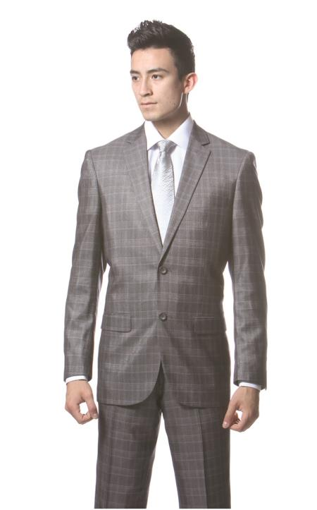 Dark Gray Plaid Slim