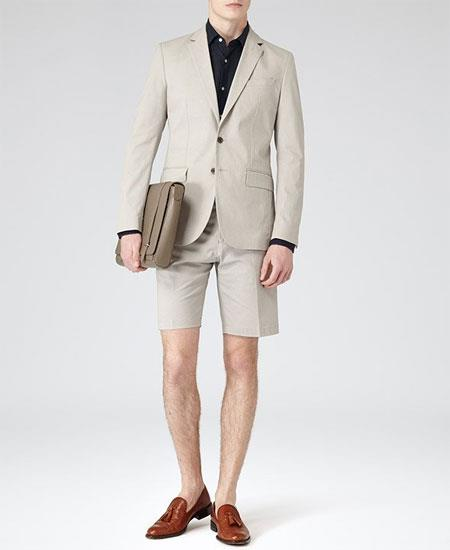 Men's Gray Summer Business Suits With Shorts Pants Set (Sport Coat Looking)