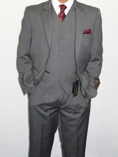Product# AC-724 Three Piece Vested Suit Mini Herringbone Tweed Gray