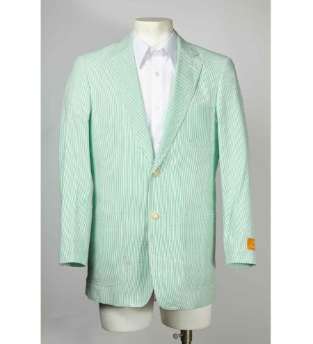 Mens Seersucker Sale Fabric 2 Button Style Notch Lapel Blazer