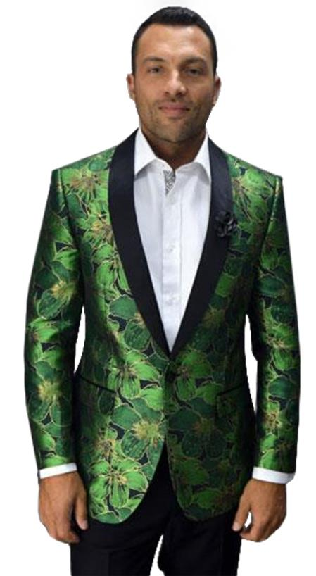 Men's Single Breasted 1 Button Shawl Lapel Fashion Flower floral print / Prom / Wedding Green Blazer  Perfect For Prom Clothe - Prom Outfits For Guys