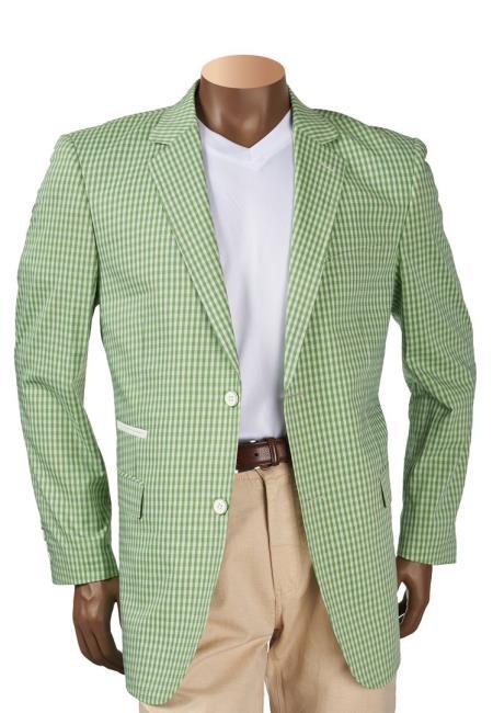 Mens Green Check Plaid