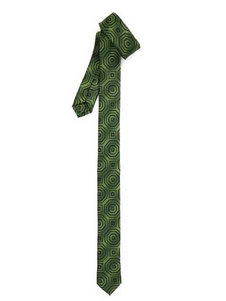 Retro Geometric Fully Lined Polyester Satine Fabric Green Superior Fabric Skinny Slim narrow Style Tie