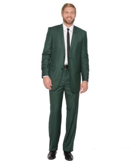 2 Piece 2 button Hunter  Forest Dark Green Suit