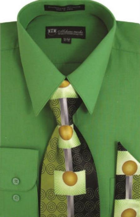 Product# SW905 Milano Moda Classic Cotton Dress Shirt with Ties and Handkerchiefs D.Lime