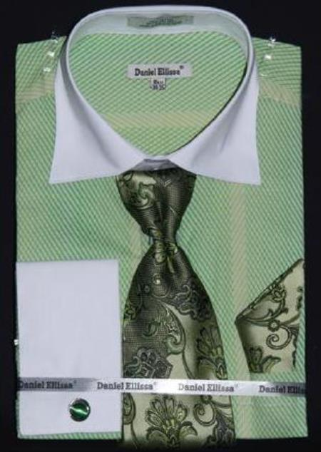 Product# AC-431 Apple Two Tone Stripes Design Dress Fashion Shirt/ Tie / Hanky Set With Free Cufflinks