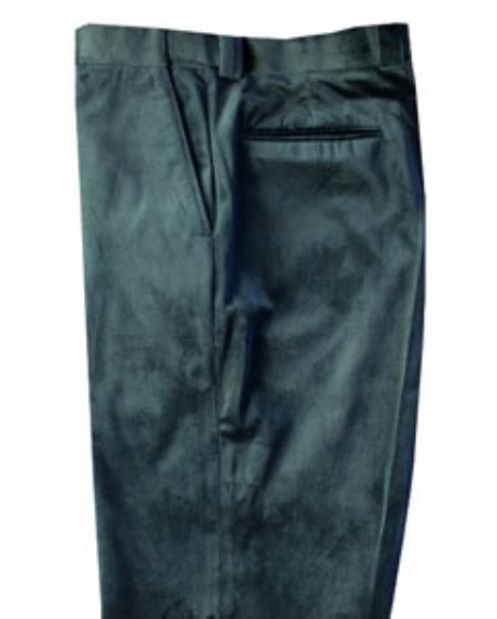 Product# SS7412 Green Velvet Pants Flat Front