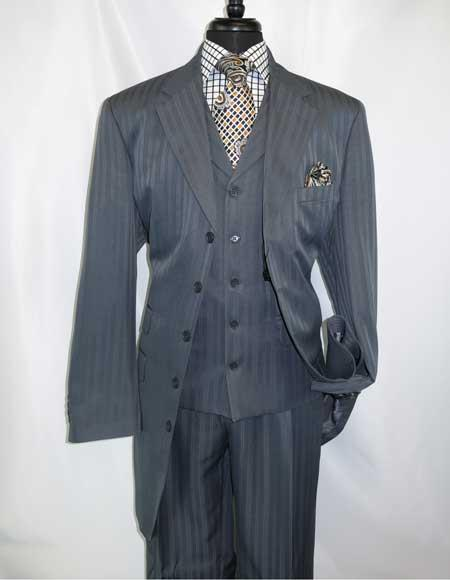 Mens 5 Button Grey