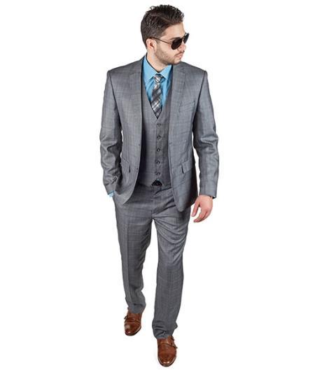 3 Piece Suit Plaid Grey Slim narrow Style Fit Double Vested Notch Lapel Clearance Sale Online