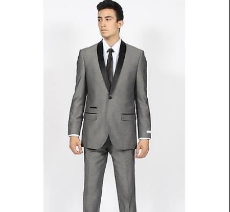 Grey ~ Gray Shawl Collar Slim narrow Style Fit Grey Tuxedo Suit Liquid Jet Black Lapel Blazer Online Sale Sportcoat Dinner Jacket Looking! Clearance Sale Online