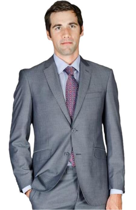 Slim narrow Style Fit Grey Stripe ~ Pinstripe Wool Fabric and Silk Blend Suit