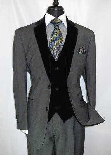 Black Suit Gray Vest Mens 2 Button Notch Velvet Lapel Single Breasted Grey Velour Vested Side Vents Suit