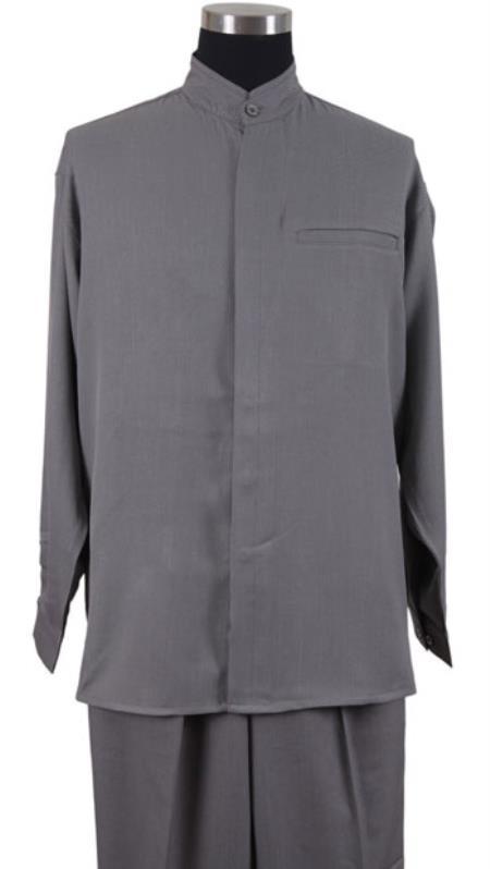 Product# MK717 no collar mandarin Banded Shirt and Matching Solid Pleated Slacks Pants No Collar Shirt with 1 Besom Pocket Grey Walking Set