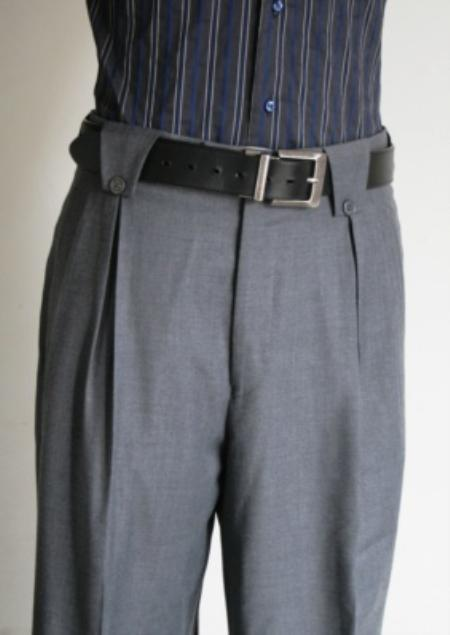 Superior Fabric 150's 100% Wool Fabric 1920s 40s Fashion Clothing Look ! Wide Leg Dress Pants / Slacks Grey