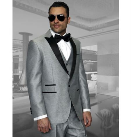 1 Button Style Vested Peak Lapel Dinner Jacket 3 Piece Wool Fabric 1920s Grey Tuxedo style Grey Clearance Sale Online
