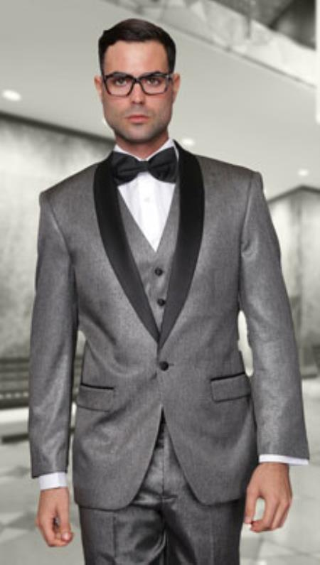 Two Toned Lapel Enzo 1-Button Side Vents Solid Wool Fabric Grey Tuxedo