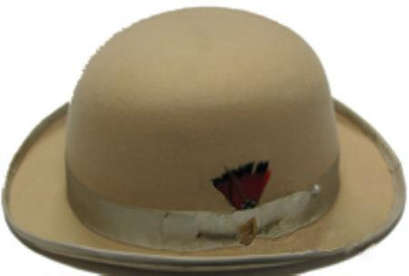 Product# RK02 bowler derby style ~ Bowler Tan khaki Color ~ Beige Men's 100% Wool Fabric Stylish Hat