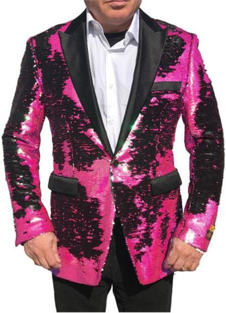 Shiny Sequin Tuxedo Black Lapel paisley look sport jacket ~ coat Hot Pink Tuxedo ~ Fuchsia