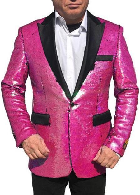 Alberto Nardoni Best men's Italian Suits Brands Hot Pink Tuxedo ~ Fuchsia Shiny Flashy Sequin Tuxedo Black Lapel paisley look sport jacket ~ coat